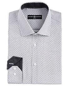 Men's Slim-Fit Moisture-Wicking Wrinkle-Free Geo-Print Dress Shirt