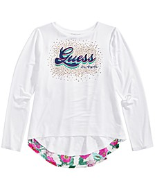 Big Girls Studded Mixed-Media Top
