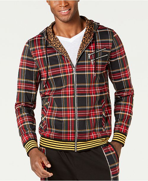 INC International Concepts INC Men's Plaid Zip-Front Hoodie, Created for Macy's