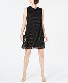 Petite Roll-Neck Clip-Dot Dress