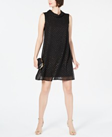 Connected Metallic-Dot Shift Dress