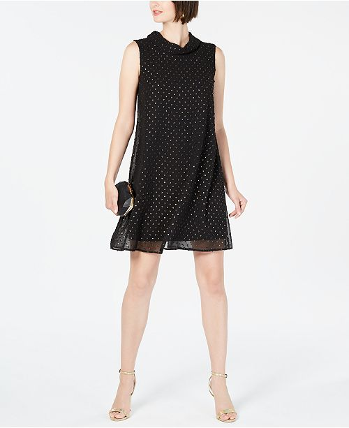 Connected Petite Roll-Neck Clip-Dot Dress