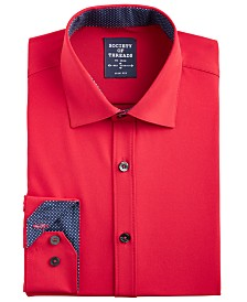 Society of Threads Men's Slim-Fit Performance Stretch Moisture-Wicking Wrinkle-Free Red Solid Dress Shirt