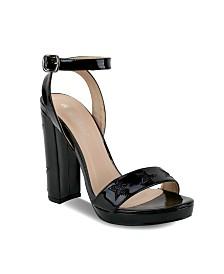 Olivia Miller Manhasset Multi Glitter Star Chunky Heel Sandals