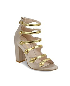 Northfolk Metallic Strap Chunky Heel Sandals