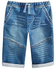 Big Boys Stretch Denim Drawstring Moto Shorts, Created for Macy's