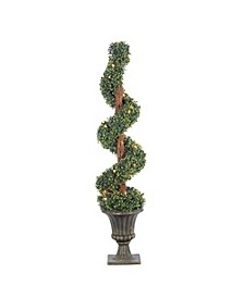 4Ft. Pre-Lit Potted Boxwood Spiral Tree with 35 Clear Lights