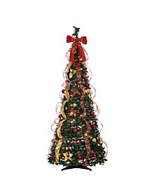 6-Foot High Pop Up Pre-Lit Green Decorated Pine Tree with Warm White Lights