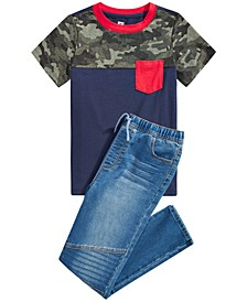 Big Boys Camo Colorblocked Pocket T-Shirt & Stretch Drawstring Moto Jeans, Created for Macy's