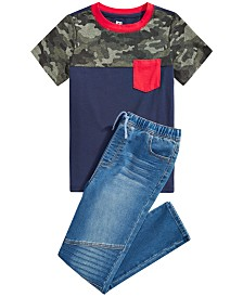 Epic Threads Big Boys Camo Colorblocked Pocket T-Shirt & Stretch Drawstring Moto Jeans, Created for Macy's