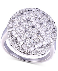 Cubic Zirconia Checkerboard Statement Ring in Sterling Silver