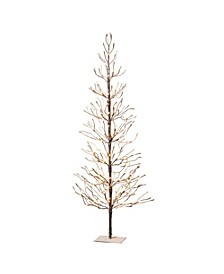 6-Foot, Brown Wrapped, Snowy Tree with LED Lighting