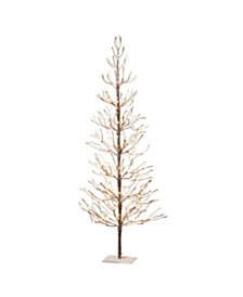 Sterling 6-Foot, Brown Wrapped, Snowy Tree with LED Lighting
