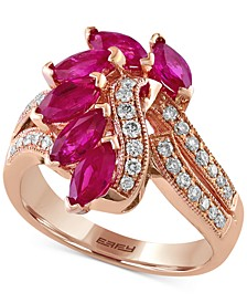 EFFY® Ruby (2 ct. t.w.) & Diamond (1/3 ct. t.w.) Statement Ring in 14k Rose Gold