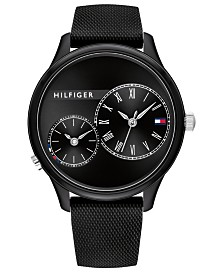 Tommy Hilfiger Women's Black Rubber Strap Watch 38mm