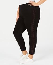 Calvin Klein Plus Size Houndstooth Rhinestud Leggings
