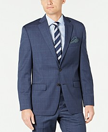 Men's Classic-Fit UltraFlex Stretch Blue Windowpane Suit Separate Jacket