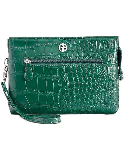 Giani Bernini Croc-Embossed Crossbody Wallet, Created for Macy's