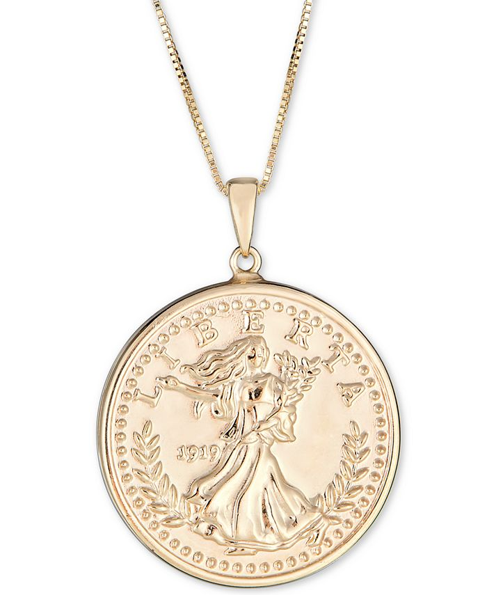 """Macy's - Coin Double-Sided 18"""" Pendant Necklace in 10k Gold"""