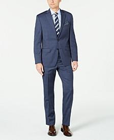 Men's Classic-Fit UltraFlex Stretch Blue Windowpane Suit Separates