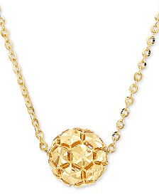 """Effy Oro by EFFY® Hollow Bead 18"""" Pendant Necklace in 14k Gold"""