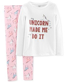 Little & Big Girls 2-Pc. Unicorn-Print T-Shirt & Printed Leggings Set