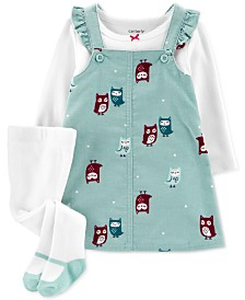 Carter's Baby Girls 3-Pc. Crewneck T-Shirt, Owl-Print Corduroy Jumper & Footed Tights Set