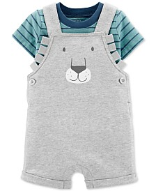 Carter's Baby Boys 2-Pc. Cotton Striped T-Shirt & Lion Shortalls Set