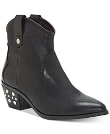INC Latisha Western Studded Leather Booties , Created for Macy's