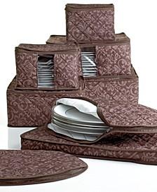Fine China Storage Set, 8 Piece Chocolate Hudson Damask