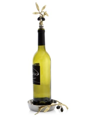 Olive Branch Gold Wine Coaster & Stopper Set