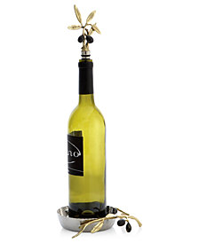 Michael Aram Olive Branch Gold Wine Coaster & Stopper Set