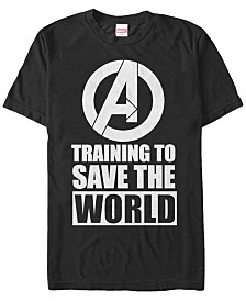 Marvel Men's Comic Collection Avengers Logo Training To Save The World Short Sleeve T-Shirt