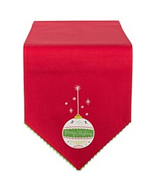"""Merry Christmas Ornament Embellished Table Runner 14"""" x 72"""""""