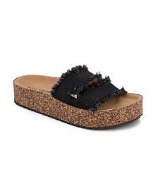 Olivia Miller Sarasota Denim Frayed Sandals