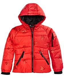 Big Girls Hooded Star-Print Coat
