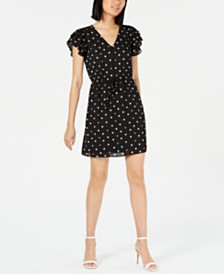 Maison Jules Polka-Dot Flutter-Sleeve Dress, Created for Macy's