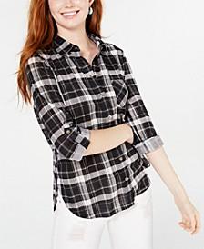 Juniors' Plaid Roll-Tab Shirt