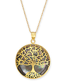 """Mother-of-Pearl Family Tree 18"""" Pendant Necklace in 14k Gold"""