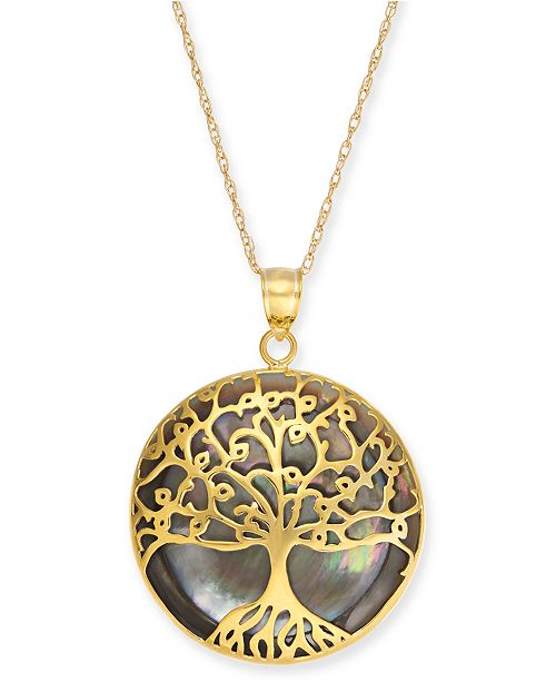 "Macy's Mother-of-Pearl Family Tree 18"" Pendant Necklace in 14k Gold"