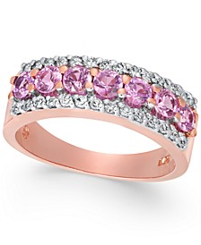 Pink Sapphire (1 ct. t.w.) & Diamond (1/4 ct. t.w.) Ring in 14k Rose Gold
