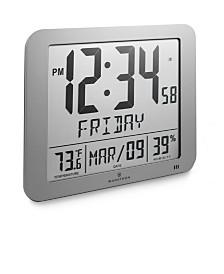 """Marathon Slim Atomic Full Calendar Clock with Large 3.25"""" Digits, Indoor Temperature"""