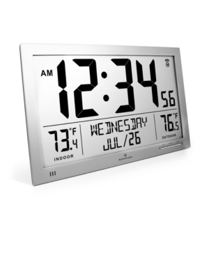 Marathon Slim Atomic Full Calendar Clock with Indoor/Outdoor Temperature