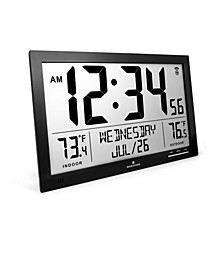 Slim Atomic Full Calendar Clock with Indoor/Outdoor Temperature