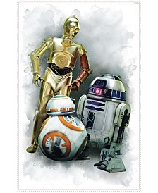 York Wallcoverings Star Wars The Force Awakens EP VII R2D2, C3Po, Bb-8 Peel and Stick Giant Wall Graphic