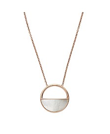Skagen Women's Elin Stainless Steel Mother of Pearl Short Pendant Necklace
