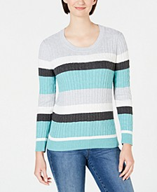 Veronica Striped Cotton Cable Sweater, Created for Macy's