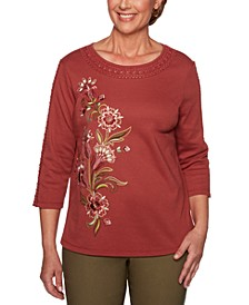 Petite Crochet-Trim Embroidered Top