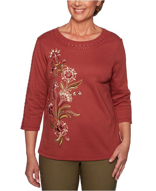 Alfred Dunner Petite Crochet-Trim Embroidered Top