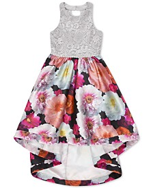 Speechless Big Girls Lace Floral-Print Dress